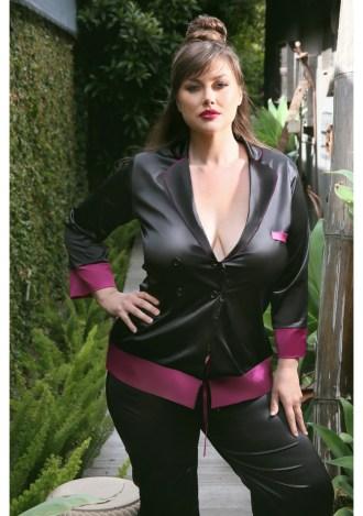 Marjorie Contrast Cuff Satin Blazer Jacket - Plus Size