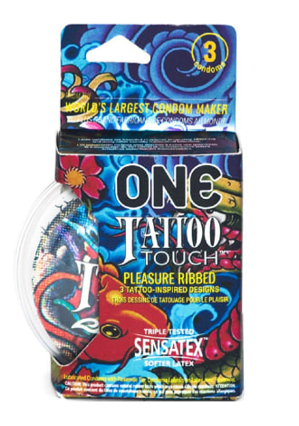 One Tattoo Touch Lubricated Latex Ribbed Condoms - 3 Pack