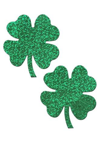 Glittering Green Shamrocks Nipple Pasties