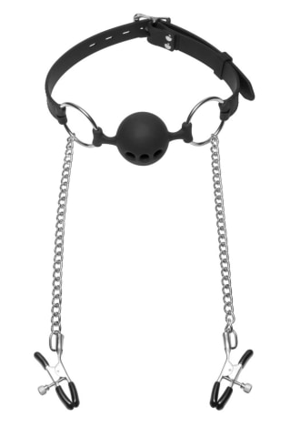 Hinder - Breathable Ball Gag with Nipple Clamps