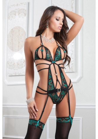 Lace Teddy with Adjustable Straps and Open Back