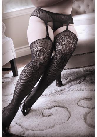 Hands On Me Galloon Net Garter Stockings - Queen Size