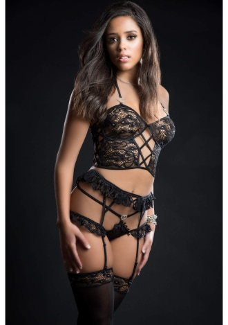 Four-Piece Cami Top Lingerie Set with Ruffled Garter Belt and Stockings