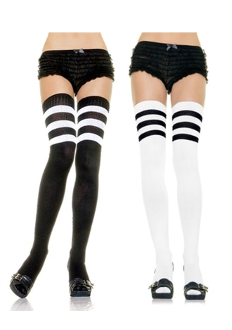 Athletic Style Ribbed Thigh Highs
