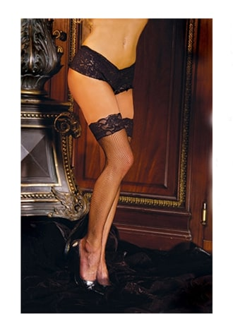 Black Fishnet Thigh-hi Stockings with Lace Tops - Queen Size