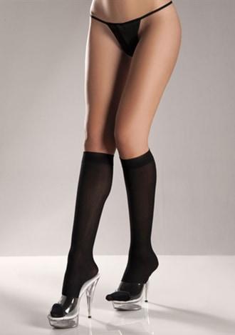 Opaque Black Knee-hi Stockings