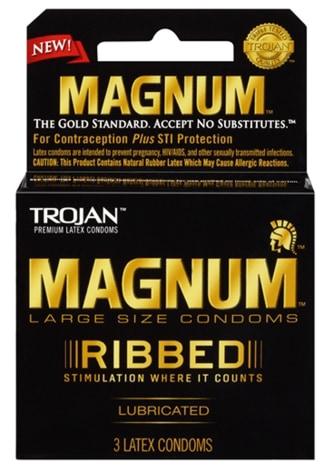 Trojan Magnum Ribbed Lubricated Condoms - 3 Pack