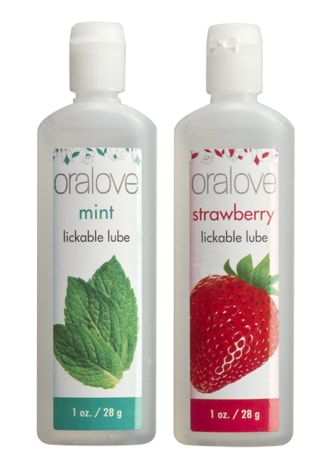 Oralove Dynamic Duo Lickable Lubes - Strawberry and Mint