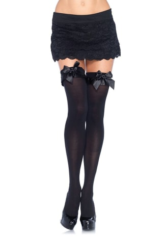 Satin Bow Opaque Thigh Highs - Queen Size