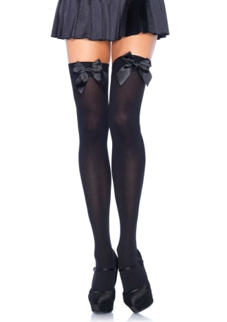 Satin Bow Opaque Thigh Highs - One Size