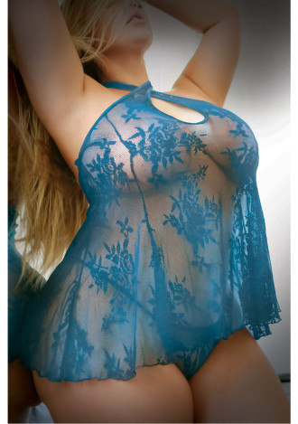 Teal Me More Dress and G-string - Queen Size