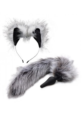 Tailz Grey Wolf Tail Anal Plug and Ears Set