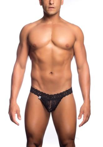 Men's Lace Waist Thong - Black