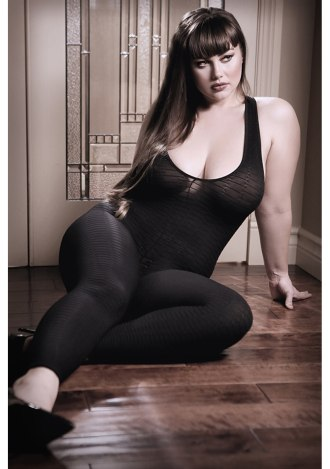 Black to Reality Opaque Textured Bodystocking - Queen Size
