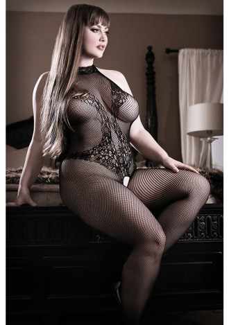 Back To Black Lace Bodystocking - Queen Size