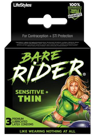 Bare Rider Sensitive Thin Condoms - 3 Pack