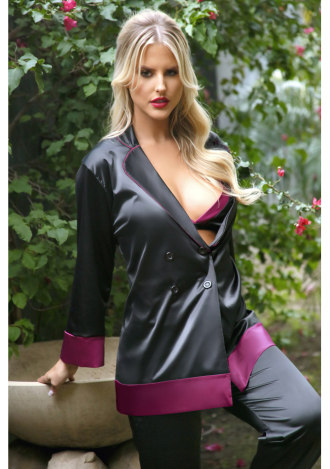 Marjorie Contrast Cuff Satin Blazer Jacket