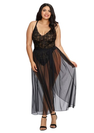 Black Plus Size Stretch Lace Teddy with Sheer Mesh Maxi Skirt