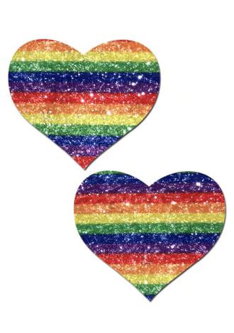 Glittering Double Rainbow Heart Nipple Pasties