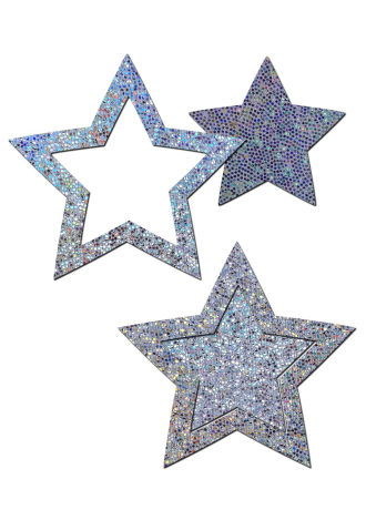 Peek-a-Boob: Silver Glitter Star Frame and Center Nipple Pasties