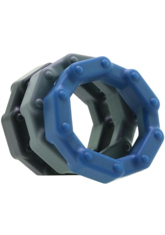 Anal Ese Chainlink Cock Ring Set - 3 Count