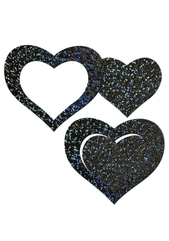 Peek-a-Boob: Black Glitter Heart Frame and Center Nipple Pasties