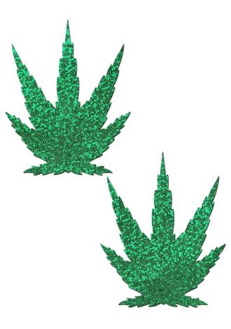 Glittering Green Pot Leaves Nipple Pasties