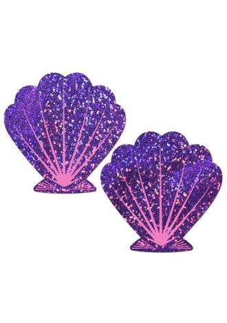 Mermaid: Purple Glitter and Pink Seashell Nipple Pasties