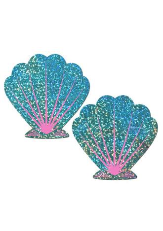 Mermaid: Liquid Seafoam Green and Pink Seashell Nipple Pasties