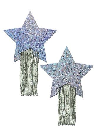 Silver Glitter Star with Tassel Fringe Nipple Pasties