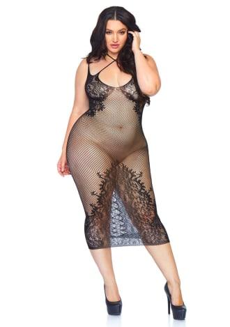 Fishnet Halter Dress - Queen Size