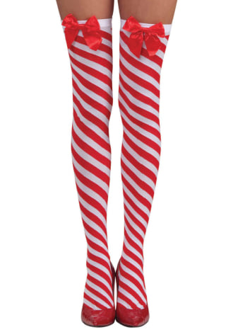 Candy Cane Thigh Highs - One Size