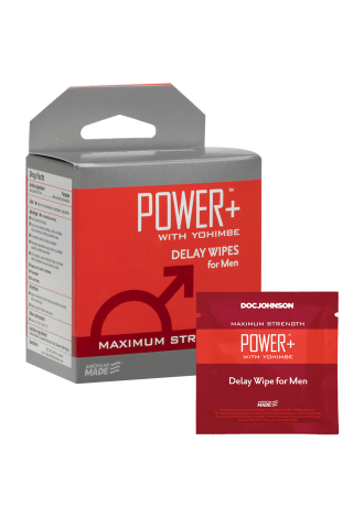 Power+ with Yohimbe - Delay Wipes for Men - 10 Pack