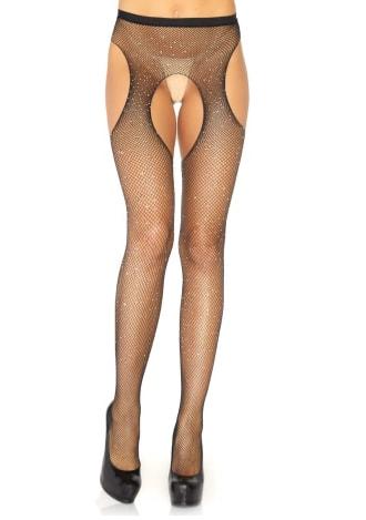 Crystalized Fishnet Suspender Pantyhose