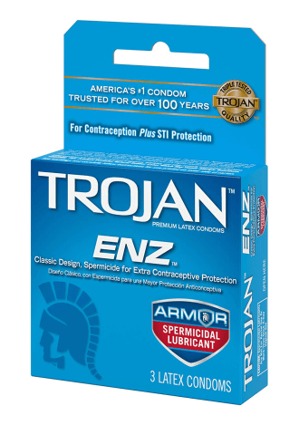 Trojan-Enz Condoms with Spermicidal Lubricant - 3 Pack