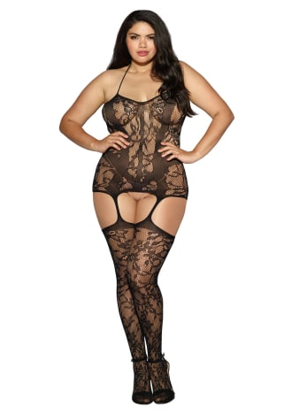 Lace and Opaque Seam Garter Dress - Queen Size