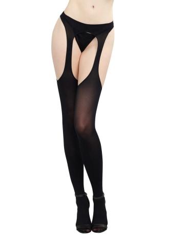 Semi Opaque Suspender Pantyhose