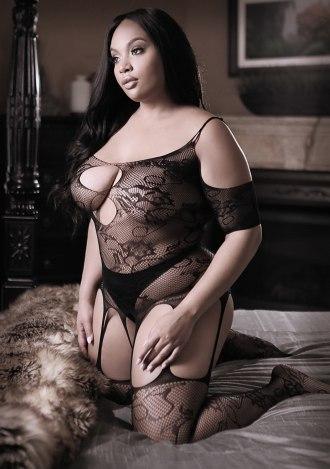 Aphrodite Cold Shoulder Bodystocking - Queen Size