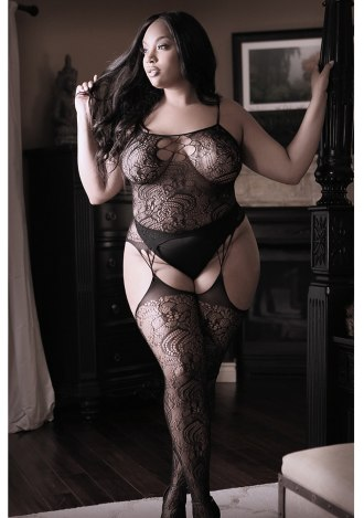Nights Like This Gartered Bodystocking - Queen Size