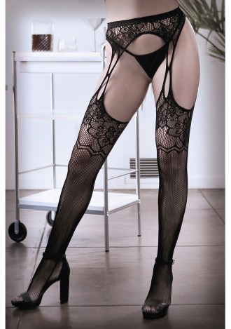 What If? Floral Net Garter Stockings