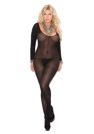 Opaque Long Sleeve Crotchless Bodystocking - Queen Size