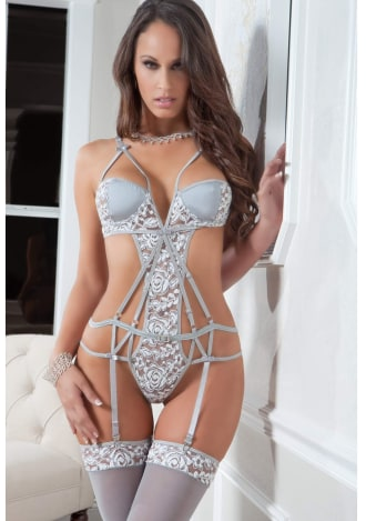 Strappy Chantilly Lace Teddy with Stockings