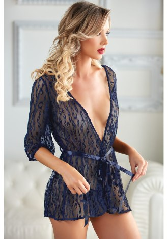 Valentina Leopard Lace Robe and G-String