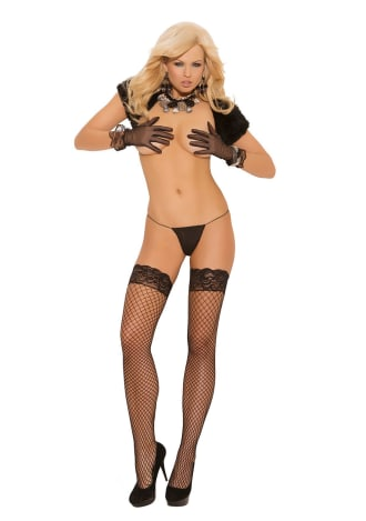 Fence Net Thigh High with Silicone Lace Top