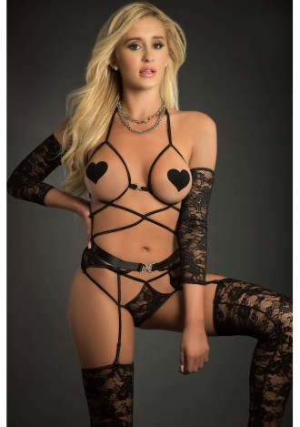 Web Garter Teddy with Open Cups, Laced Sleeves, Pasties and Stockings