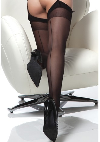 Sheer Back Seam Thigh High Stockings