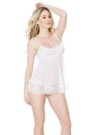 Sheer Babydoll with Eyelash Lace Detailing and G-String