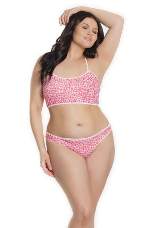 Hearts Bralette and Panty Set - Queen Size
