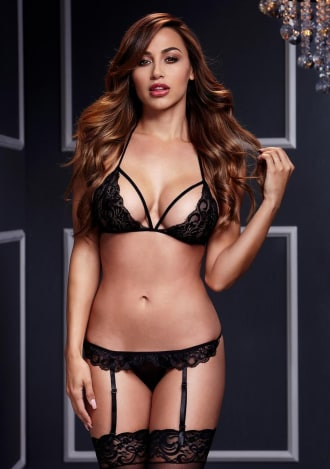 Lacy Bra Garter and Open Crotch Panty