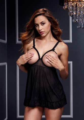 Sheer Open Cup Babydoll and Panty